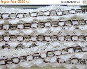 SUMMER SALE - German Vintage Off-White and Brown Rustic Fabric Border Trim Ornamental Trimmings for Lampshades Curtains, Supply
