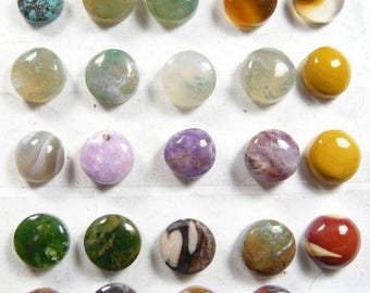 28 round cabochons, 10-11 mm, natural cabochons, ring size, small cabs, min order 2 cabs, price is per cab (SC2771)