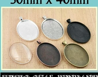 75 Blank OVAL Pendant Trays - 30mm x 40mm Oval. Silver,Black, Antique Copper, Antique Bronze, Antique Silver.  Glass is sold separately.