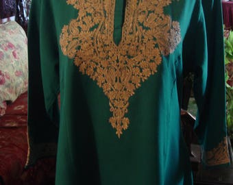 Vintage 1980 Boho Chic Afghani Turquoise Embroidered Dress