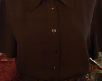 Vintage 1997 Classic Dark Chocolate Brown Liz Claiborne Shirt Waist Dress