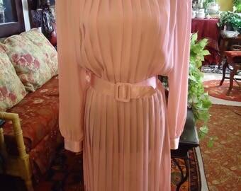 Vintage 1990's Soft Pink Satin Trim Long Sleeve Pleated Dress
