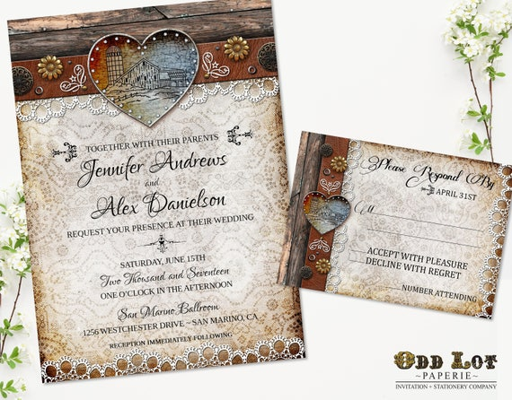 Barn Wedding Invitation Set Rustic Wedding Invitation Country – Rustic Barn Wedding Invitations