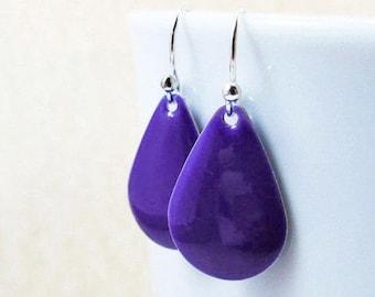 40% OFF Dangle Drop Earrings - Indigo Blue Epoxy Enamel Teardrops - Sterling Silver Plated over Brass (F-5)