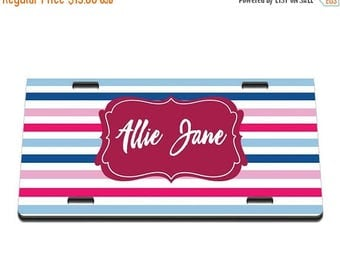 ON SALE NOW Striped Personalized Printed Personalized License Plate / Gift Idea / Gift for her / New Driver / Car Accessories / Vanity Plate