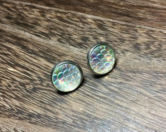 12mm Iridescent Mermaid Scale Earrings