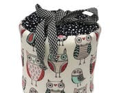 Owls on White Background with White Dots on Black - Fabric Spare Toilet Paper Cover, Cozy or Holder