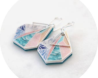 Snowflake Sunset - triangle art earrings by NEXT ROMANCE Jewels Melbourne Australia Vicki Leigh - graphic design jewellery range