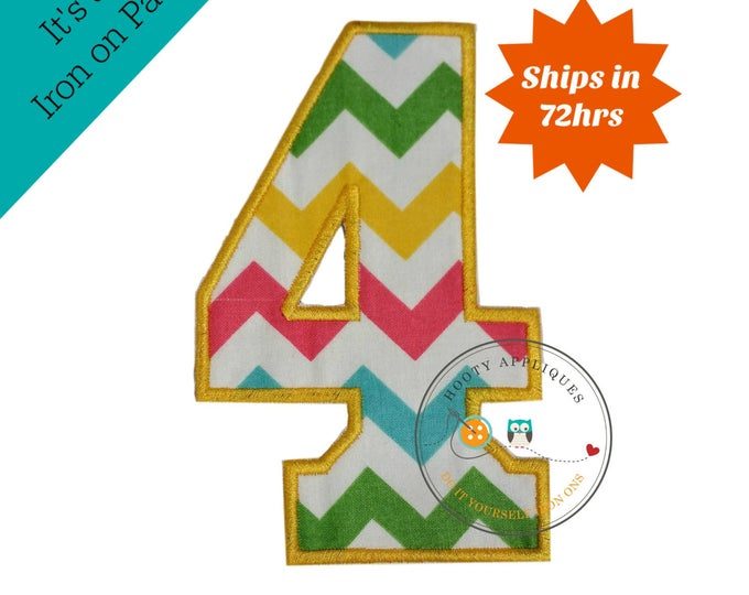 Large teal, yellow, green and pink chevron  number 4- iron embroidered fabric applique patch embellishment- ready to ship