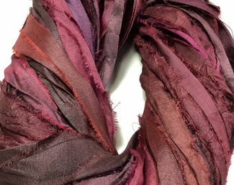 Recycled Sari Silk Ribbon 319 Rustic Burgundy Purples Browns Tassel Ribbon Jewelry Fair Trade Silk Fiber Art Felt Knit Crochet Supply