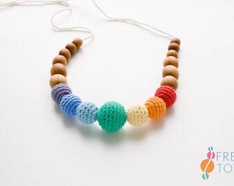 NB04 ORGANIC COTTON Nursing Necklace, Bright Rainbow, Teething Necklace, Gift for Mom, Breastfeeding - apple wood