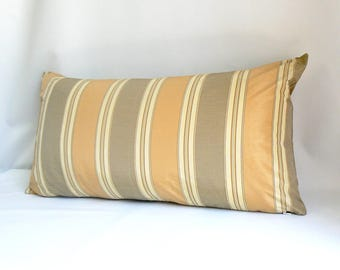 "Gray and golden tan stripe, 14"" x 26"" Pillow"