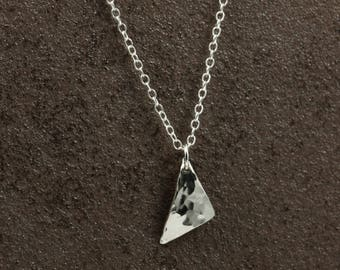 Sterling Silver Chain Necklace with Hammered Silver Triangle Pendant, Hammered Silver Necklace, Sterling Silver Necklace