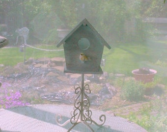 Birdhouse Planter Wrought Iron French Country Prairie Farmhouse Cottage Chic OOAK