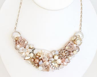 Rose Gold Necklace- Blush Bridal Necklace-Pearl and Rhinestone Necklace-Rose Gold Bib- Blush Wedding Necklace-Champagne Necklace- Bridal Bib