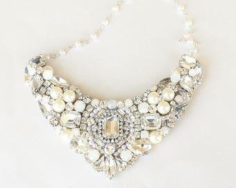 Rhinestone and Pearl Necklace- Bridal Statement Necklace- Rhinestone Bib Necklace- Pearl Wedding Necklace- Swarovski Crystal Necklace