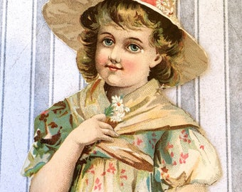 Sweet Little Victorian Scrap-Girl with Daisies