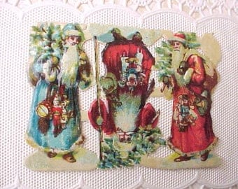 9 Old World Vintage Never Used Santa Claus Scraps