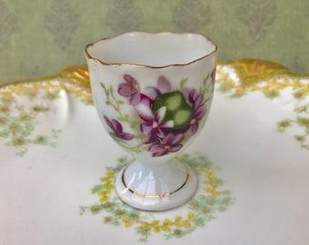 Sweet 1950's Porcelain Egg Cup with Violets