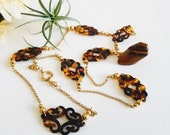 Tortoise Shell Necklace, Tortoise Shell and Gold, Classy Vintage Necklace, Preppy Vintage Jewelry, Long Vintage Link Necklace, Faux Tortoise
