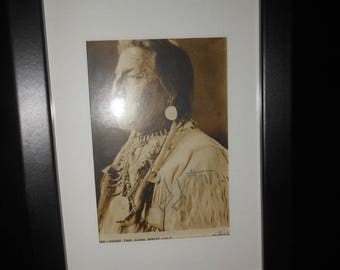 1920's signed Chief Two Guns White Calf photo - antique - vintage autograph - buffalo nickel