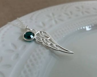 Angel Wing Necklace. Personalized Necklace. Sterling Silver. Silver Angel Wing. Birthstone Necklace. Personalised Gift, Christmas Gift