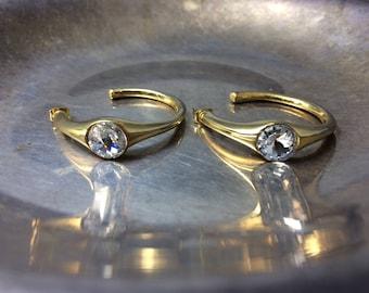 Vintage Hoop Earrings Small Hoop Earrings Gold Hoop Earrings Crystal Hoop Earrings Vintage Earrings Vintage Jewelry