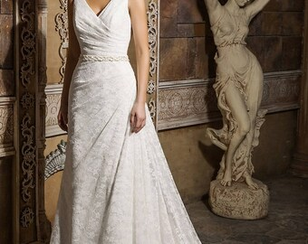Laced Ruched Wedding Gown