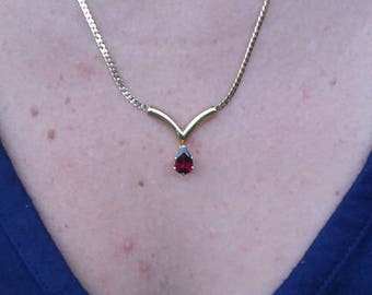 Garnet and Goldtone Necklace  *Clearance!*