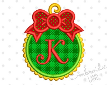 Christmas Ball Font Frame  Embroidery Design Monogram New Year Decor CHR061