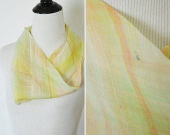 SUMMER SALE Vintage 1970's Neck scarf- 70's silk headband- Light sheer circle scarf- mini infinity scarf