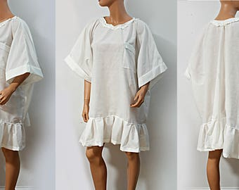 White Cotton Ruffle Tunic Top Shirt with Breast Pocket Summer Spring Plus Size Clothing 2x 3x