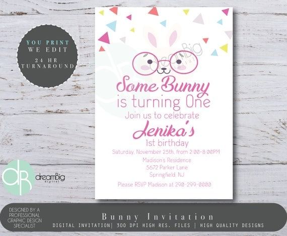 Some Bunny Turns One Two Three First Birthday Printable Invitation