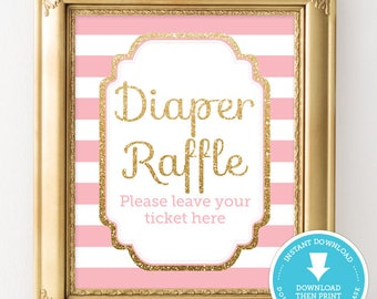 Pink and Gold Diaper Raffle Sign - Pink and Gold Baby Shower - Gold Glitter Baby Shower - Girl Baby Shower Printable - Instant Download