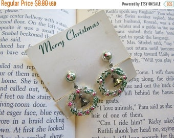 ON SALE Vintage Christmas Wreath Earrings // 1950's Silver Red Green Metal Christmas Bells Charms Mid Century Retro Holiday Earrings New Old
