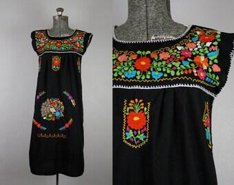 1970's Black Mexican Wedding Dress / Size Small Medium