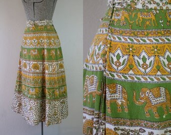 1970's Indian Cotton Green and Yellow Wrap Skirt / Size Medium