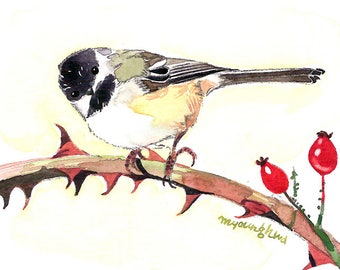 ACEO Limited Edition 1/25 -Touch of heart, Chickadee, Bird print, Art print of an original ACEO watercolor painted by Anna Lee