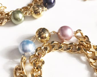 Swarovski Pearls Gold Doublewrap Bracelet, Double Wrap Bracelet,