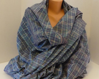 "Blue plaid Indonesian cotton ikat fabric - 41"" wide - BTY"