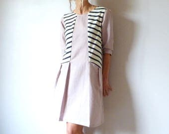 Pink linen dress and jersey navy blue