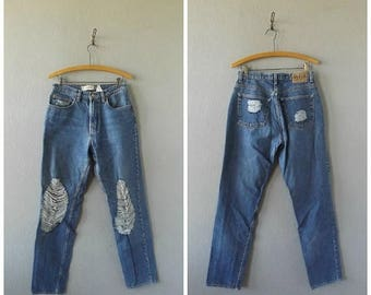 memorial thrashed high waist jeans   vintage 90s GAP cotton blue jeans size 8 hipster boho worn in fray trousers pants 1990s hippie grunge d