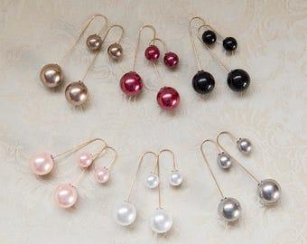 Long dangling faux pearl earrings, pink, white, peach, red, black, large small pearl earrings, long dainty modern minimalist earrings