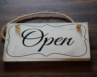 "Wood Open Closed Sign - Business Sign - Reception Sign - Open Door Sign - Office Sign - Closed Sign - 5.5"" x 12"""