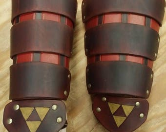 Leather Armor Ocarina of Time Link Gauntlets with Triforce