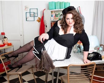 PLUS SIZE Cosplay, Retro Black and White French Maid Apron Wide Circular Skirt