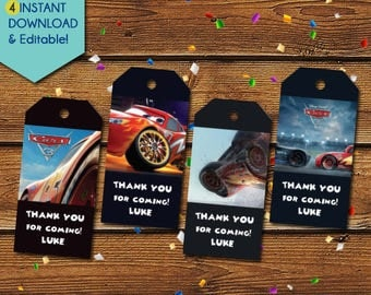 Disney Cars Thank You Tags,  Disney Cars Party Favors, Disney Cars Tags, Disney Cars Birthday Tags, Party Tags, Gift Tags, McQueen