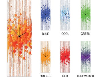 Contemporary Decor 'Colorful Paint Splatter Clock' by Adam Schwoeppe - Original Kitchen Clock Urban Clock Art on Plexiglass