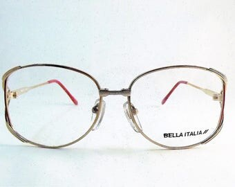 Womens Round Gold Glasses, Red Eyeglasses Frame, Gold Metal Glasses, 1980s Glasses, Womens Oval Glasses, 1980s Vintage NOS Frame