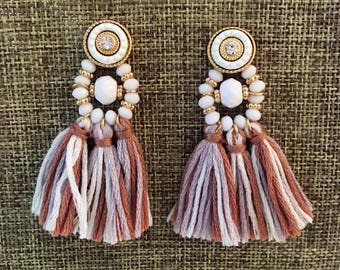 BRIGHT CREAM & SUGAR Tassel Bridesmaid Earrings Tassel Statement Earrings Wedding Earrings Earrings Tassel Earrings